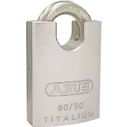 Cylinder padlock with shackle guard (stainless steel crane)