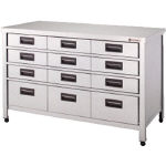 Stainless Steel Storage Cabinet Vertical Drawer-Attached Depth 600 mm Type
