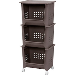 Storage Rack, Stack Baskets (3-Level Set, with Casters)