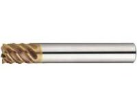 TSC series carbide high-helical end mill (for shrink fit holder / cutting edge deflection accuracy of 5μm or Less). Multi-flute, 53° spiral / stub model