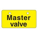 "English Opening and Closing Tags for Valves ""Master Valve (Yellow)"" V-7"