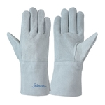 Cow Split Leather Gloves_107B Sleeve 11 cm, Total Length (cm) 28