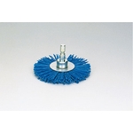 Quick grit wheel brush w/ abrasive particles