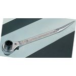 Double-Ended Ratchet Wrench with Curved Drift, Nickel-Chrome Plated Finish