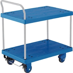Plastic Trolley, Grand Cart, Silent, One-Side Handle 2-Level Type / with Stopper