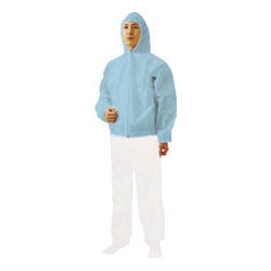 Nonwoven disposable protective clothing, jumper with hood, blue