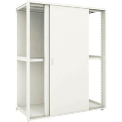 Small to Medium Capacity Boltless Shelf Model M2 (Panels and Double Sliding Doors Provided, 200 kg Type, Height 1,800 mm, 3 Shelf Type) Linked Unit Type (Height 1,800 mm, Rear Plates Provided)