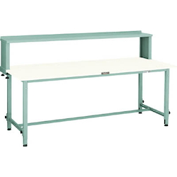 Lightweight Adjustable Height Work Bench with Upper Shelf Linoleum Tabletop Average Load (kg) 150