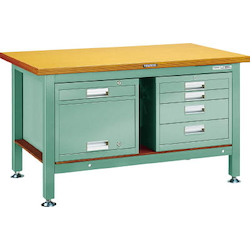 Heavy Work Bench with 4-Shelf Cabinet / Locker Linoleum Tabletop Average Load (kg) 3000