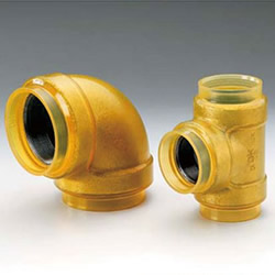 20 K Transparent Fittings with Insulation for HB Gold (HBG) Fire Extinguishing Pipes - Tee with Different Diameters