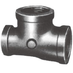 Screw-In Malleable Cast Iron Pipe Fitting, Reducing Tee with Collar (Only Through Side Is Small)