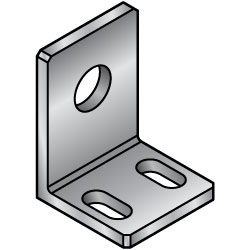 L Shape Finished Angle Mounting Plate, Bracket - Center Symmetrical Type