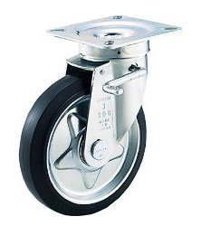 Press-On Rubber Casters, with Bearing, Free Type