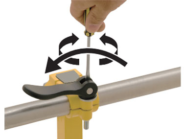 3. Fold the handle fully to the un-clamping side and adjust the handle angle to a desired position with a flathead screwdriver.