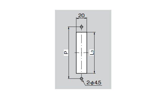 Panel hole drilling dimensions (2-ø4.5 [4.5‑mm diameter])