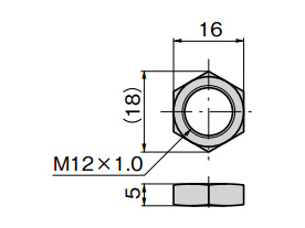 CP-536-2/3 nut dimensional drawing (mm)